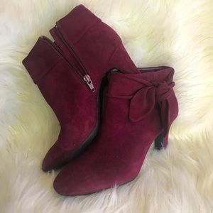 Maroon Swede/Leather Boots